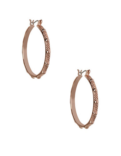 Bcbgeneration Dome Stud Rose Goldtone Hoop Earrings-ROSE GOLD-One Size