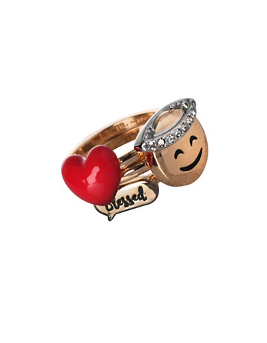 Bcbgeneration Three-Piece Emoji, Heart and Dialog Bubble Ring Set-GOLD-7