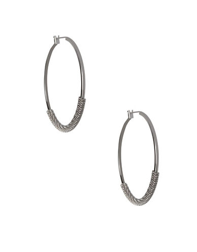 Bcbgeneration Round Wire Hoop Earrings-SILVER-One Size
