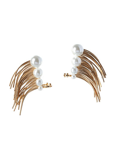 Bcbgeneration Climber Cuff Glass Pearl Earrings-GOLD-One Size