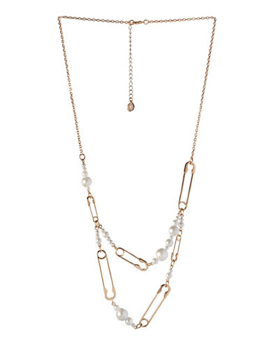 Bcbgeneration Glass Pearl and Safety Pin Necklace-GOLD-One Size