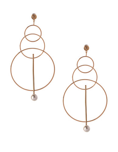 Bcbgeneration Triple Circle Drop Earrings-GOLD-One Size