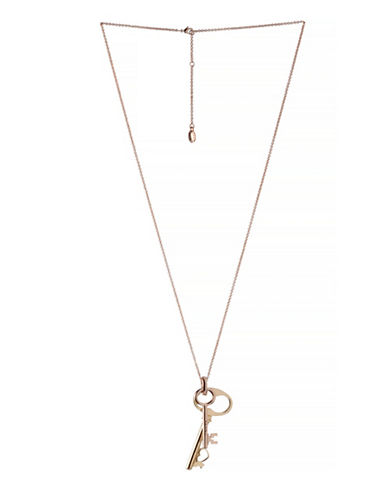 Bcbgeneration Affirmation Love and Key Pendant Necklace-TWO TONE-One Size