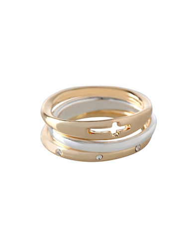 Bcbgeneration Affirmation Three-Piece Faith Ring Set-TWO TONE-One Size