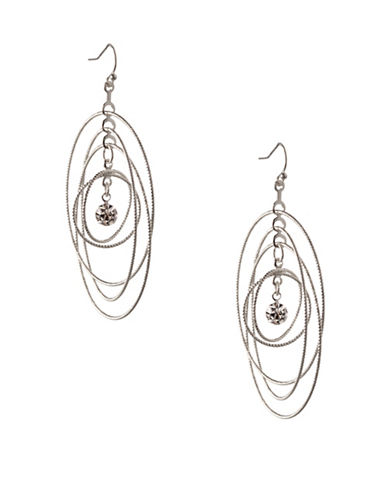 Bcbgeneration Orbital Silvertone Multi-Circle Drop Earrings-SILVER-One Size