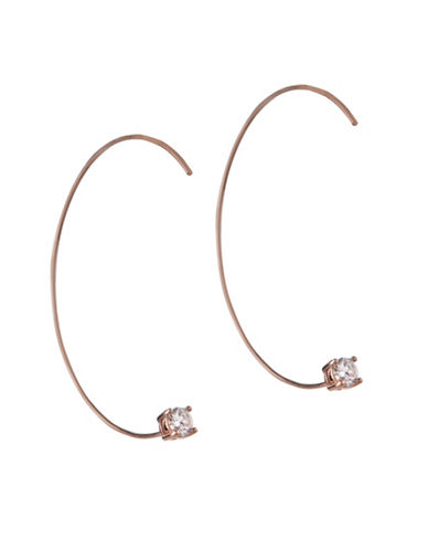 Bcbgeneration Orbital Rose Goldtone Threader Earrings-ROSE GOLD-One Size