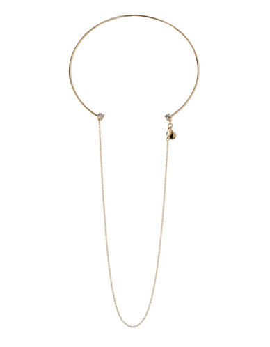 Bcbgeneration Orbital Goldtone Drop Chain Choker Necklace-GOLD-One Size