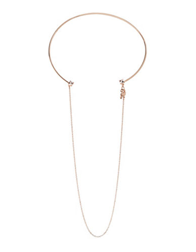 Bcbgeneration Orbital Rose Goldtone Drop Chain Choker Necklace-ROSE GOLD-One Size