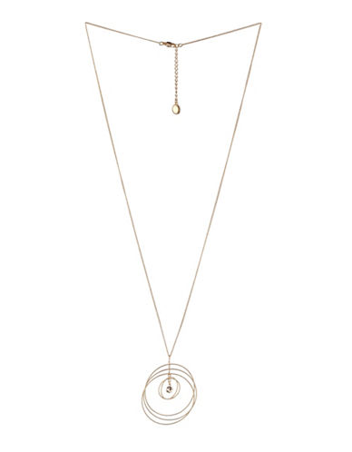 Bcbgeneration Orbital Goldtone Multi-Circle Pendant Necklace-GOLD-One Size