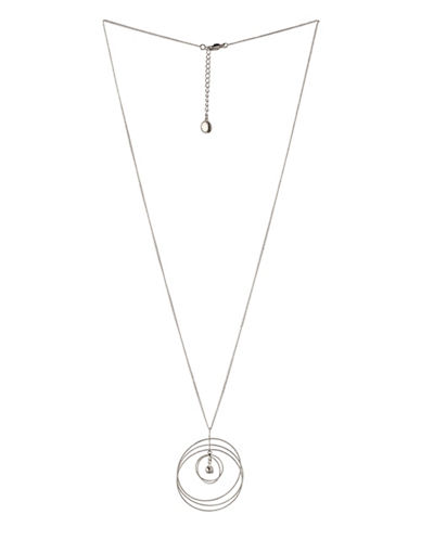 Bcbgeneration Orbital Silvertone Multi-Circle Pendant Necklace-SILVER-One Size