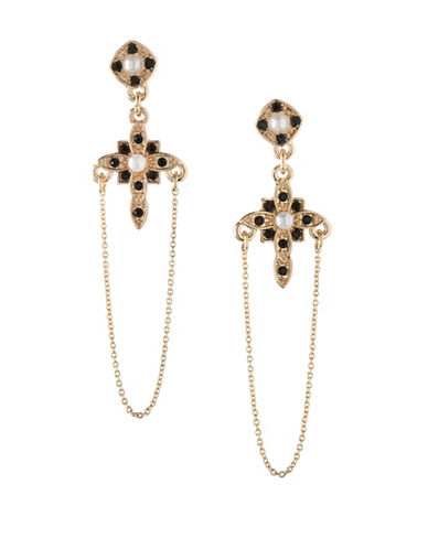 Bcbgeneration Keys to My Heart Cross Drop Earrings-BLACK-One Size