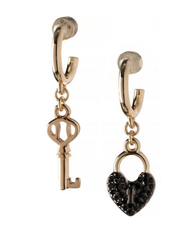 Bcbgeneration Keys to My Heart Mismatched Drop Earrings-BLACK-One Size