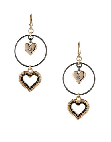 Bcbgeneration Keys to My Heart Double Drop Hoop Earrings-BLACK-One Size