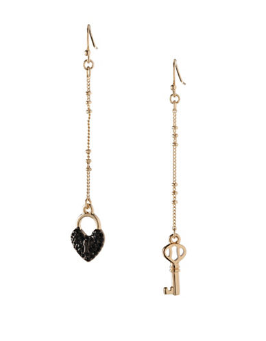 Bcbgeneration Keys to My Heart Mismatched Linear Drop Earrings-BLACK-One Size