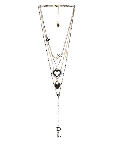 Bcbgeneration Keys to My Heart Multi-Strand Necklace-BLACK-One Size