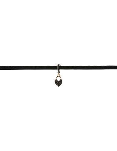 Bcbgeneration Keys to My Heart Drop Choker Necklace-BLACK-One Size