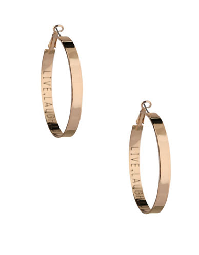 Bcbgeneration Affirmation Live Laugh Love Hoop Earrings-GOLD-One Size