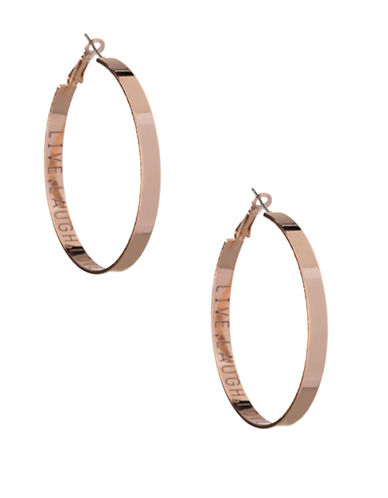 Bcbgeneration Affirmation Live Laugh Love Hoop Earrings-ROSE GOLD-One Size