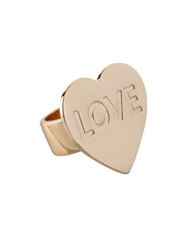 Bcbgeneration Affirmation Jet Crystal Love Ring-GOLD-7