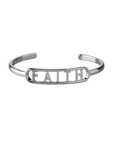 Bcbgeneration Affirmation Faith Cuff Bracelet-SILVER-One Size