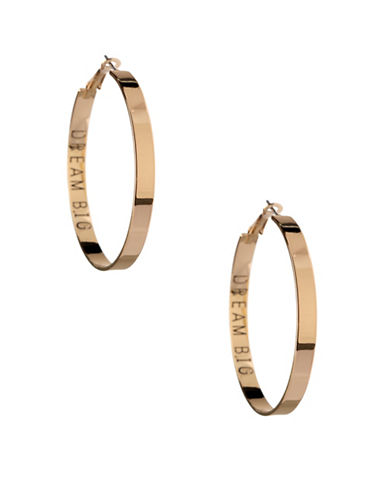 Bcbgeneration Affirmation Dream Big Hoop Earrings-GOLD-One Size