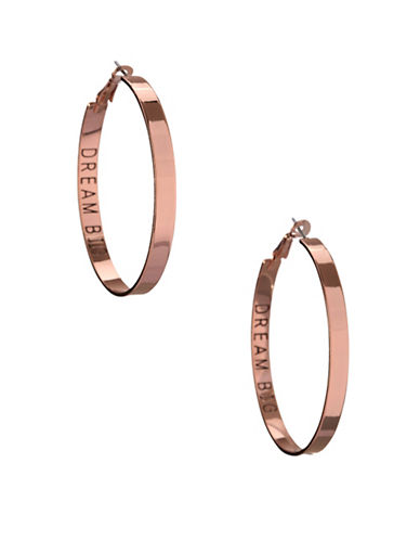 Bcbgeneration Affirmation Dream Big Hoop Earrings-ROSE GOLD-One Size