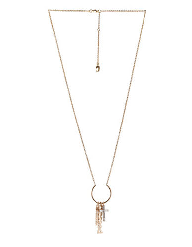 Bcbgeneration Affirmation Crystal Blessed Multicharm Pendant Necklace-GOLD-One Size