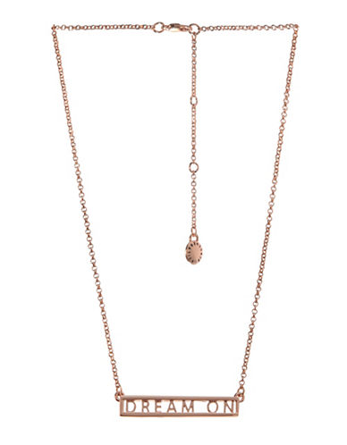 Bcbgeneration Affirmation Crystal Dream On Plate Pendant Necklace-ROSE GOLD-One Size
