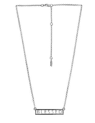 Bcbgeneration Affirmation Crystal Blessed Pendant Necklace-SILVER-One Size
