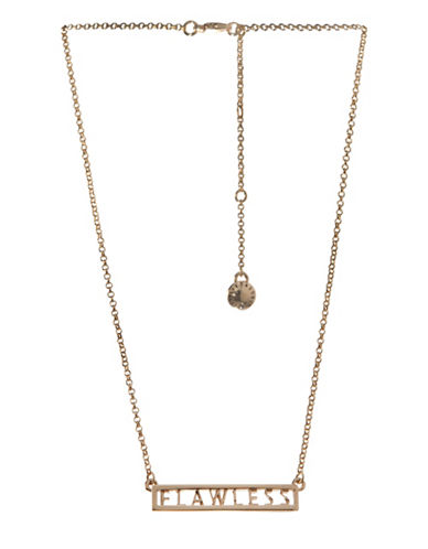Bcbgeneration Affirmation Crystal Flawless Plate Pendant Necklace-GOLD-One Size