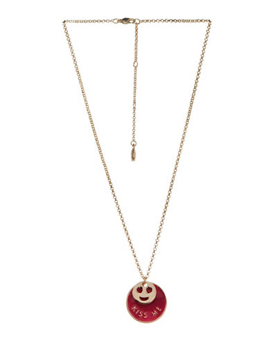 Bcbgeneration Affirmation Crystal Kiss Me Face Pendant Necklace-RED-One Size