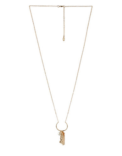 Bcbgeneration Affirmation Crystal Love Multicharm Pendant Necklace-GOLD-One Size