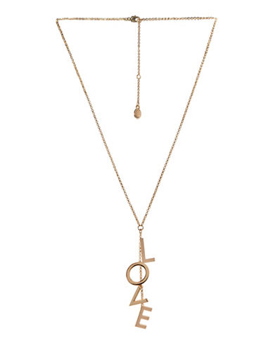 Bcbgeneration Affirmation Crystal Love Lariat Necklace-GOLD-One Size