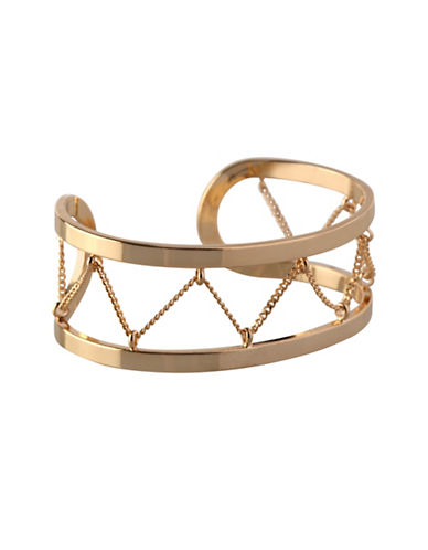 Bcbgeneration In Chains Crystal Cuff Bracelet-GOLD-One Size