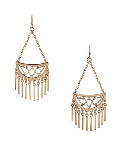 Bcbgeneration In Chains Crystal Drop Earrings-GOLD-One Size