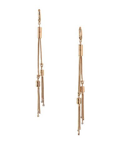 Bcbgeneration In Chains Crystal Chain Cord Drop Earrings-GOLD-One Size