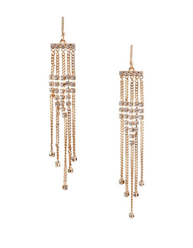 Bcbgeneration In Chains Crystal Multi Chain Drop Earrings-GOLD-One Size