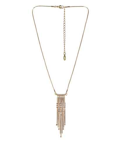 Bcbgeneration In Chains Crystal Multi Chain Pendant Necklace-GOLD-One Size