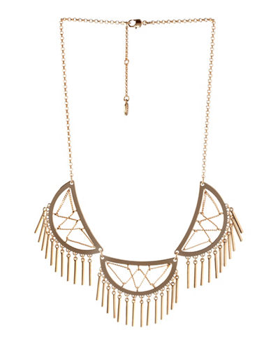 Bcbgeneration In Chains Crystal Triple Half-Moon Bib Necklace-GOLD-One Size