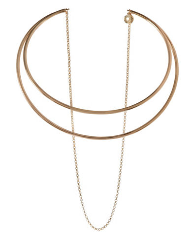 Bcbgeneration In Chains Crystal Double Hoop Choker Necklace-GOLD-One Size
