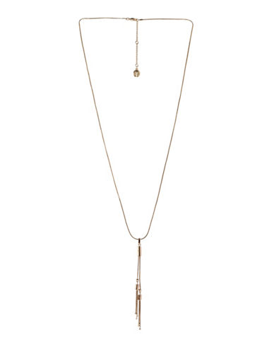 Bcbgeneration In Chains Crystal Bar Chain Pendant Necklace-GOLD-One Size