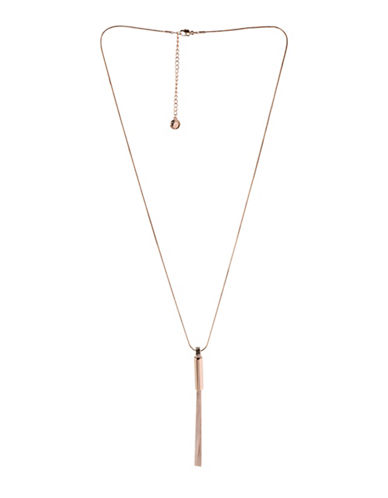 Bcbgeneration In Chains Crystal Tassel Pendant Necklace-ROSE GOLD-One Size