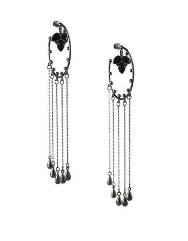 Bcbgeneration Teardrop Multi-Chain Hoop Earrings-BLACK-One Size