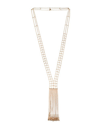Bcbgeneration Goldtone Crystal Y-Shaped Multi Chain Necklace-GOLD-One Size