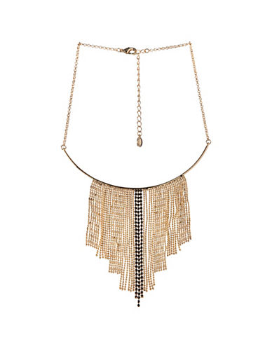 Bcbgeneration Goldtone Black Crystal Multi-Chain Necklace-GOLD-One Size