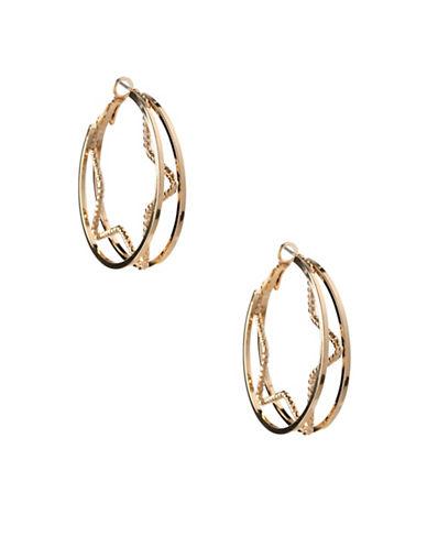 Bcbgeneration 12K Yellow Gold Star Inside Hoop Earrings-GOLD-One Size
