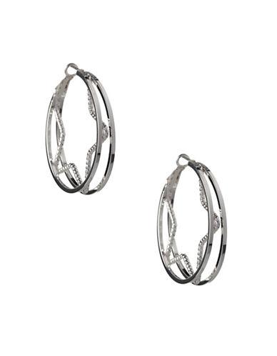 Bcbgeneration Silvertone Star Inside Hoop Earrings-SILVER-One Size