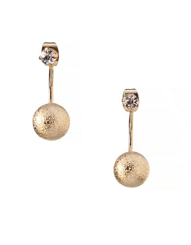 Bcbgeneration 12K Yellow Gold Crystal Stud Drop Earrings-GOLD-One Size