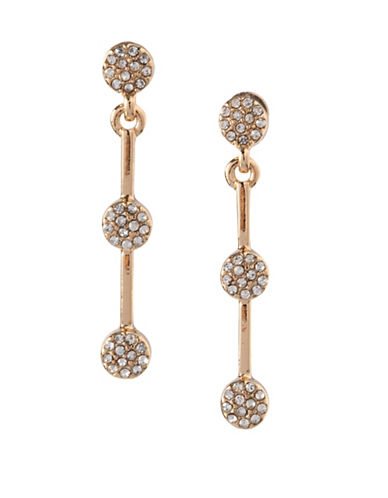 Bcbgeneration 12K Yellow Gold Pave Drop Earrings-WHITE-One Size