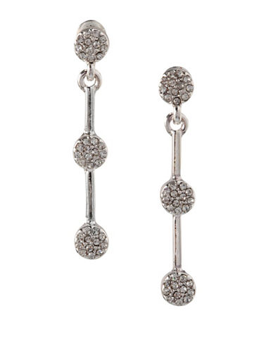 Bcbgeneration Silvertone Pave Drop Earrings-SILVER-One Size